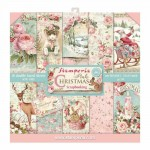 PAPIER SCRAP STAMPERIA 30,5*30,5 170G A'10 SBBL46 PINK CHRISTMAS