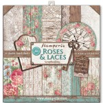 PAPIER SCRAP STAMPERIA 30,5*30,5 170G A'10 SBBL25 ROSES, LACES & WOOD