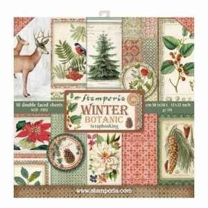 PAPIER SCRAP STAMPERIA 30,5*30,5 170G A'10 SBBL44 WINTER BOTANIC