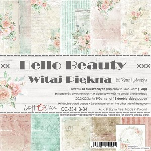 Papier scrap Craft O'Clock 20,3*20,3 Hello Beauty Zestaw
