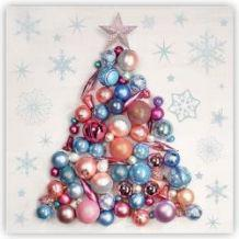 SERWETKA LUZ 33*33 DAISY SDGW009301 Xmas Tree mde from Baubles