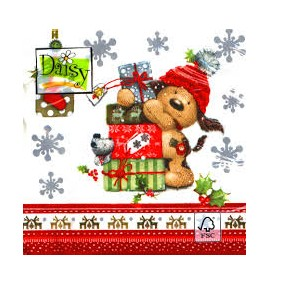 SERWETKA LUZ 33*33 DAISY SDGW011301 Puppy with Presents