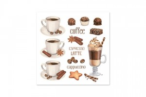 SERWETKA LUZ 33*33 DAISY SDOG015501 Coffee Cups & Chocolate Sweets