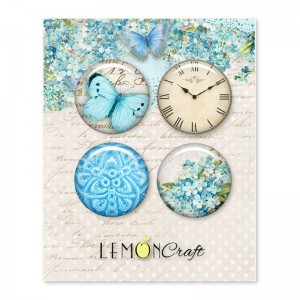 Badziki / Buttony LEMON Craft a'4szt Forget Me Not