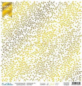 PAPIER SCRAP Craft Passion 30,5*30,5 WHITE 03 GOLD