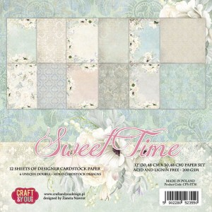 Papier scrap Craft & You 30,5*30,5 a'12ark Sweet Time