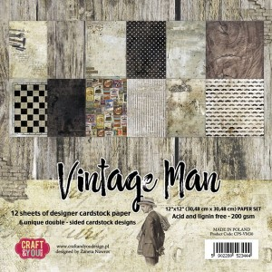 Papier scrap Craft & You 30,5*30,5 a'12ark Vintage Man