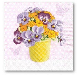 SERWETKI 33*33 DAISY 3W A'20SZT SDWI004801 Violets and Primroses in Yellow Cup