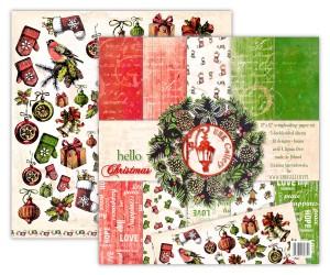 Papier scrap UHK 30,5*30,5 hello Christmas a'5szt