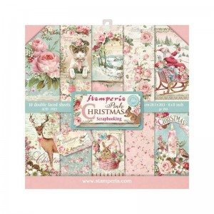 Papier scrap Stamperia 20,3*20,3 190g a'10 SBBS03 Pink Christmas