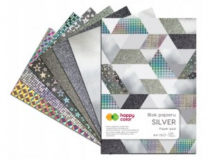 BLOK DECO HAPPY COLOR A4 SILVER a'10ark 150-230g