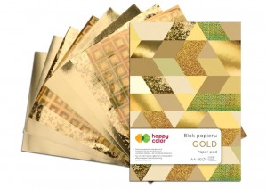 BLOK DECO HAPPY COLOR A4 GOLD a'10ark 150-230g