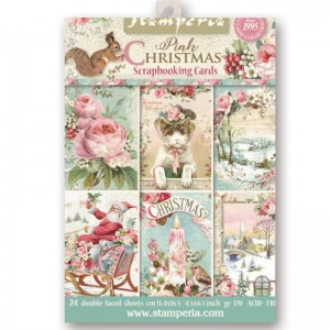 PAPIER SCRAP STAMPERIA 11,4*16,5 170G A'24 SBBPC08 PINK CHRISTMAS
