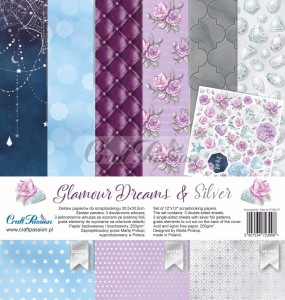 PAPIER SCRAP Craft Passion 30,5*30,5 GLAMOUR DREAMS & SILVER zestaw
