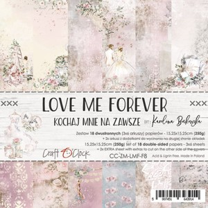Papier scrap Craft O'Clock 15*15 F08 Love Me Forever Zestaw