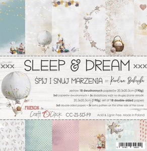 Papier scrap Craft O'Clock 20,3*20,3 Sleep&Dream Zestaw