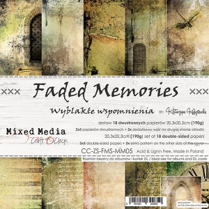 Papier scrap Craft O'Clock 20,3*20,3 Faded Memories Zestaw