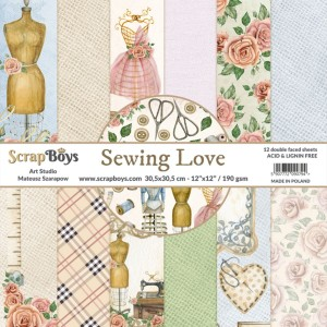 Papier ScrapBoys 30,5x30,5 Sewing Love zestaw