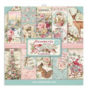 Papier scrap Stamperia 30,5*30,5 170g A'10 SBBL73 Pink Christmas