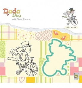 Stempel akrylowy NELLIE DDCS027 Love on a bike + Wykrojnik