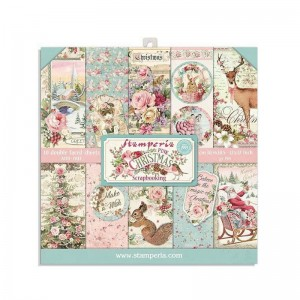 Papier scrap Stamperia 20,3*20,3 190g a'10 SBBS16 Pink Christmas