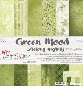 Papier scrap Craft O'Clock 30,5*30,5 BC01 Green Mood Zestaw