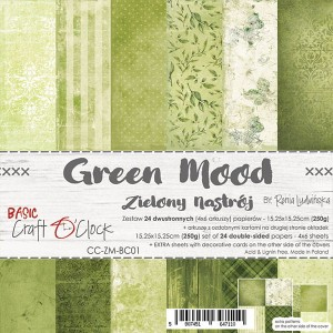 Papier scrap Craft O'Clock 15*15 BC01 Green Mood Zestaw