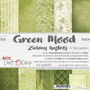 Papier scrap Craft O'Clock 20,3*20,3 BC01 Green Mood Zestaw
