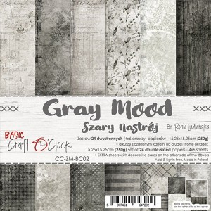 Papier scrap Craft O'Clock 15*15 BC02 Gray Mood Zestaw