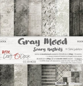 Papier scrap Craft O'Clock 30,5*30,5 BC02 Gray Mood Zestaw
