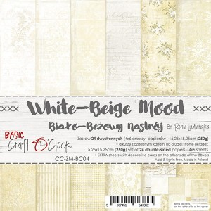 Papier scrap Craft O'Clock 15*15 BC04 White-Beigen Mood Zestaw