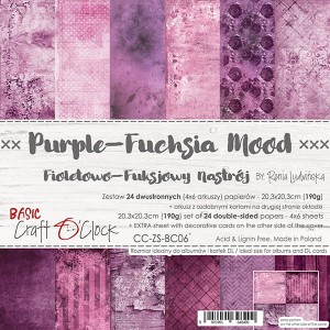 Papier scrap Craft O'Clock 20,3*20,3 BC06 Purple-Fuchsia Mood Zestaw