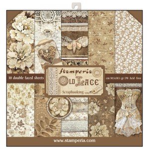 PAPIER SCRAP STAMPERIA 30,5*30,5 170G A'10 SBBL32 OLD LACE
