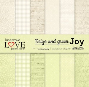 PAPIER SCRAP LL 30,5*30,5 BEIGE AND GREEN JOY ZESTAW