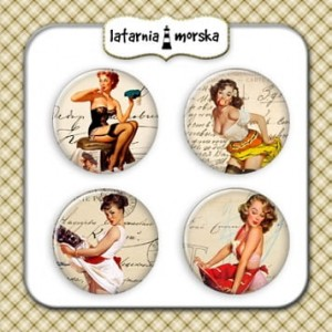 BADZIKI/BUTTONY LM A'4SZT PIN UP GIRLS W-3