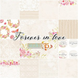 PAPIER SCRAP S75 15*15 FOREVER IN LOVE ZESTAW