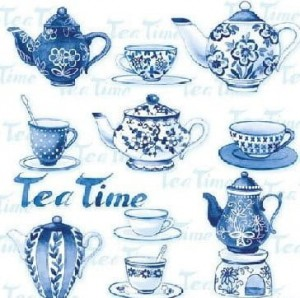 SERWETKA LUZ 25*25 AMBIENTE 12507595 TEA MOMENTS BLUE