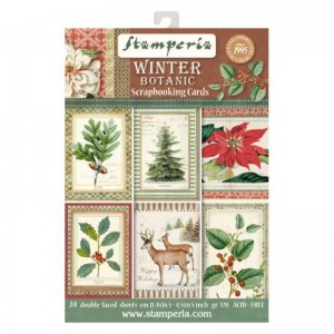 PAPIER SCRAP STAMPERIA 11,4*16,5 170G A'24 SBBPC06 WINTER BOTANIC