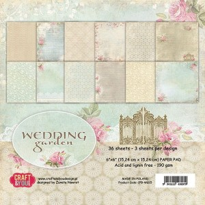 PAPIER SCRAP C&Y 15,2*15,2 A'36ARK WEDDING GARDEN